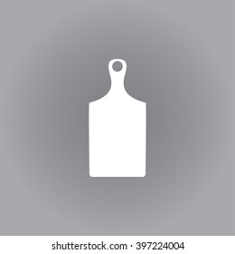 Flat vector icon. White icon on a grey background. Cutting board.