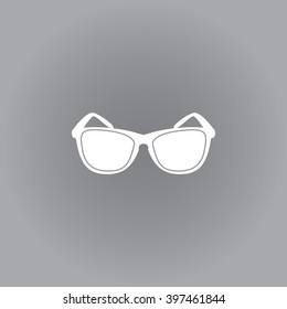Flat vector icon. White icon on a grey background. Sunglasses.