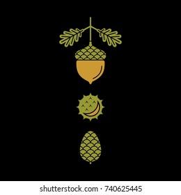 Flat vector icons of autumn elements. Flat vector icons acorn, pine cones, chestnut