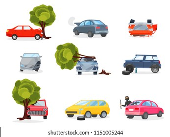 Flat vector icons of broken vehicles after road accidents. Car with punctured tire. Robber in black mask broke window in automobile