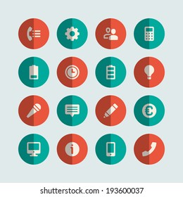 Flat vector icons concept. Design elements for business, social media,web site and mobile phone templates. design.