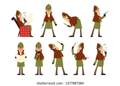 Flat vector icons of detective Sherlock in different actions thinking, reading newspaper, smoking pipe, looking into magnifying glass, holding gun