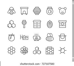Flat vector icons with a thin line. Set for mobile applications. Honey and beekeeping