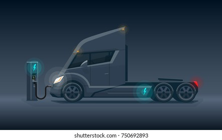 Flat vector illustration of a abstract futuristic black electric semi trailer truck in modern design with sleeper cabin charging at the charger station. Side view, dark theme with shining lights.