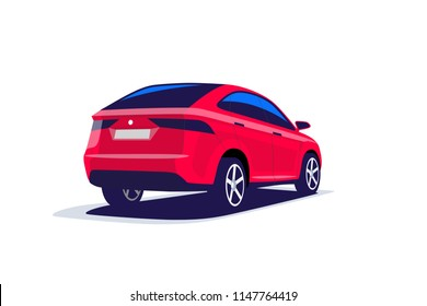 Flat vector illustration of an abstract modern red suv car. Back view. Isolated on white background.