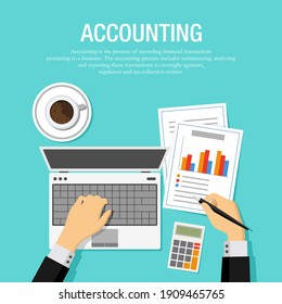 Flat vector illustration of an accountant checking financial statement with laptop and paper. Suitable for background design from financial service and planning companies. Top view from office desk.