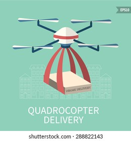 Flat vector illustration of air RC drone. Concept for quadrocopter delivery. Isolated background,flat design.