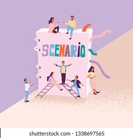 Flat vector illustration of artists and film or drama thater director who teach roles against the background of the scenario. Script reading concept for art project, films, theaters.