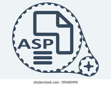 Flat Vector illustration. ASP file extension. ASP Icon Graphic. ASP  symbol. ASP  Icon Art. ASP Icon illustration. ASP  Icon Vector.