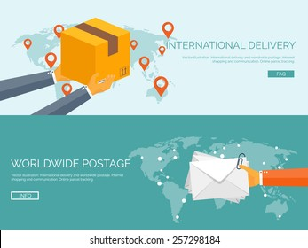 Flat vector illustration backgrounds set. International delivery and worldwide postage. Emailing and online shopping. Envelope and package.