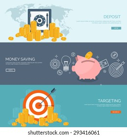 Flat vector illustration backgrounds set. Money saving and money making. Web payments. World currency. Internet store, shopping. Pay per click. Business.