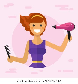 Flat vector illustration of beautiful smiling girl with dryer and brush dries her hair. Hair care concept.