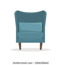 Flat vector illustration. Blue velvet armchair in retro style. An isolated figure.