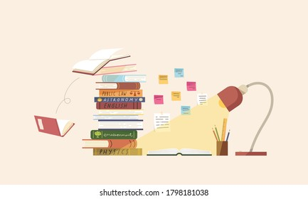 Flat vector illustration of books on table with sticky note on wall, stationery and lamp. Concept of reading for exam, studying for test, homework, student's element, learning, education.