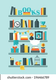 Flat vector illustration of books on shelf