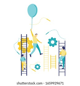 Flat vector illustration of a business concept, a flying businessman holding a balloon, man climbing ladders. The concept of success and career growth.