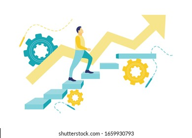 Flat vector illustration of a business concept, businessman on concrete stairs with business sketch. Finance and growth concept. Businessman pursue a career.