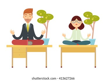 Flat vector illustration of businessman and businesswoman meditating in lotus pose, sitting on the office table under the money tree.