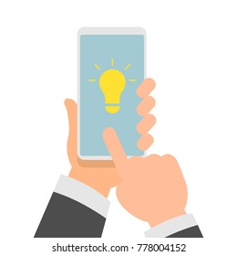 Flat Vector Illustration of Businessman Hands Holding Smartphone with an Idea Light Bulb on Screen