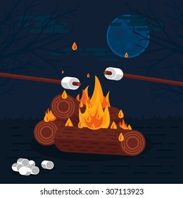 Flat Vector Illustration of Camp Fire at Night with Marshmallows
