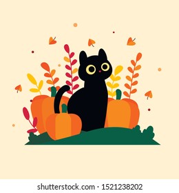 Flat vector illustration with a cartoon black cat that sits with pumpkins. A black cat with big yellow eyes sits near a large pumpkin. Around autumn leaves of red and yellow color and leaf fall.