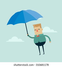 Flat Vector Illustration: Cartoon Character with Umbrella Flying in the Sky