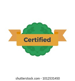 Flat vector illustration of certified badge with ribbon