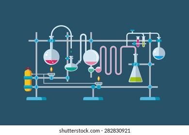 Flat vector illustration of chemical laboratory equipment objects with a series of flasks and beakers various shapes.