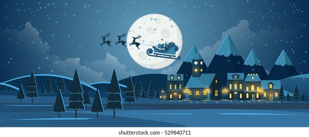 Flat Vector Illustration of Christmas Night Landscape with Flying Santa Claus.