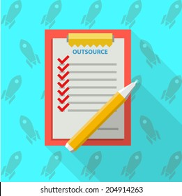 Flat vector illustration of clipboard for outsource. Red clipboard with some list for outsource with red marks and yellow pen. Flat vector illustration on blue background with rockets.
