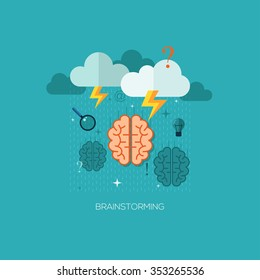 Flat vector illustration concept for brainstorming. Design elements for web and mobile applications, infographics and workflow layout