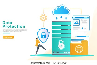 Flat Vector Illustration concept of protection on server data and user file data with a cloud system network and guaranteed safety by the developer. for landing page, banner, UI, print media, apps