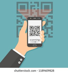 Flat vector illustration concept for scanning QR code with mobile phone