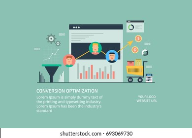 Flat vector illustration for conversion optimization, lead generation, customer sales lead banner with icons