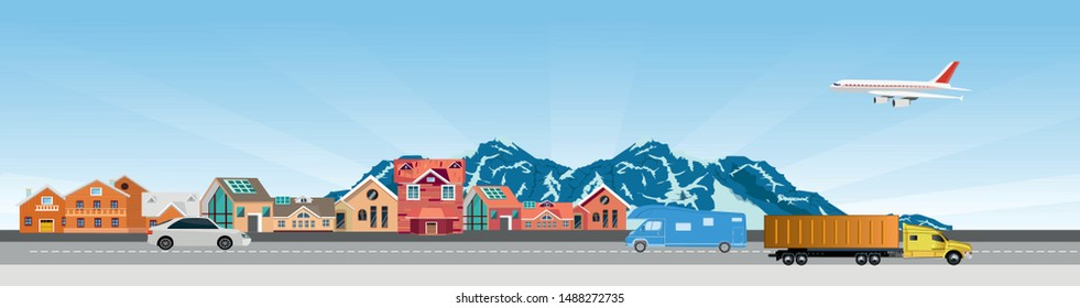 Flat vector illustration of  countryside  landscape street with cars, houses , family houses in small town and mountain with trees in background. Banner horizontal panorama.