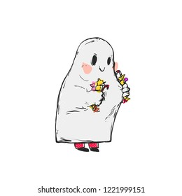Flat vector illustration - Cute ghost holds candy