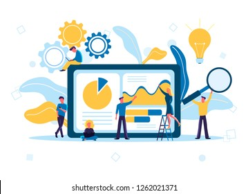 Flat vector illustration of data analysis design concept. Small people and laptop screen with data analysis graphs and charts, analysts working.