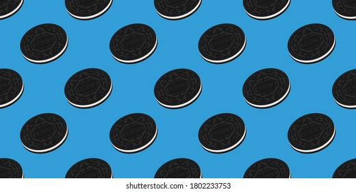 flat vector illustration design of biscuit seamless pattern for print media. Can be used for background or wallpaper content