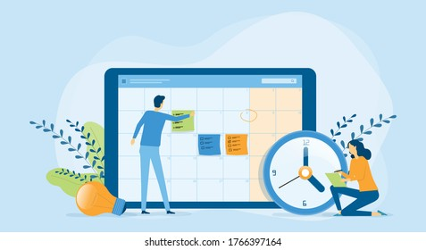 Flat vector illustration design Business planning concept and Business people team working with digital online calendar