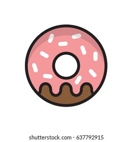 flat vector illustration donut food icon banner menu restaurant cafe menu design carbohydrate food sugar sweets cafeteria cafeteria McDonald coffee and donuts