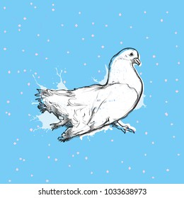 Flat vector illustration - Dove of Peace