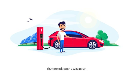 Flat vector illustration of a electric car charging at the charger station with a young man. Green trees nature and solar panels in the background. Electromobility e-motion concept.