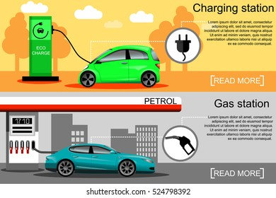 Flat vector illustration of an electric car charging at the charger station and a car fueling at the gas station. Electromobility e-motion concept. Eco fuel and gasoline