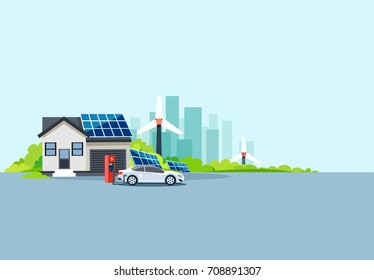 Flat vector illustration of an electric car at charging station parked nearby house with solar panels and wind turbines producing electricity.