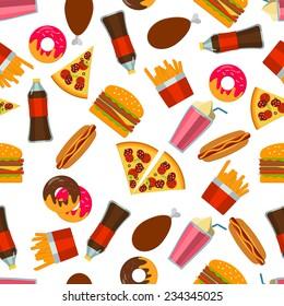 Flat Vector Illustration of FastFood for Design, Website, Background Banner. FAt Meal Food Template for Menu. Pizza, Soda, Chicken, Potato, Popcorn, Hot Dog, Donat