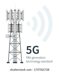 Flat vector illustration of fifth generation mast base stations on white background, 5G mobile data towers, telecommunication antennas and signal, cellular equipment.