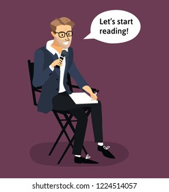 Flat vector illustration of film director  on his chair.Producer's stool.Stage director explain something. Dramatic theater people. Stage-manager with microphone in hands.