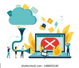 Flat vector illustration, fire computer breakdown, pump transfer data to cloud storage, cloud download tracking, data transfer folders with documents, data storage
