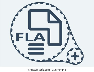 Flat Vector illustration. FLA file extension. FLA Icon Graphic. FLA  symbol. FLA  Icon Art. FLA Icon illustration. FLA  Icon Vector.