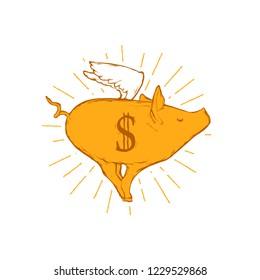 Flat vector illustration - Flying pig